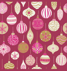 christmas vintage ornaments seamless pattern pink vector image