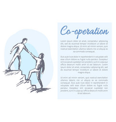 co-operation poster and text vector image