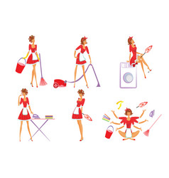 Colorful home cleaning set vector