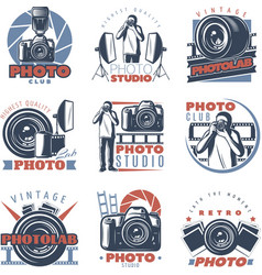 Colorful photo club labels vector