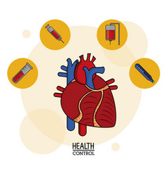 Colorful poster of health control in white vector
