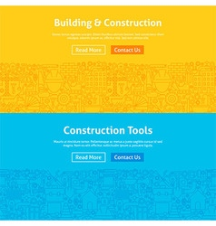 Construction Line Art Web Banners Set vector