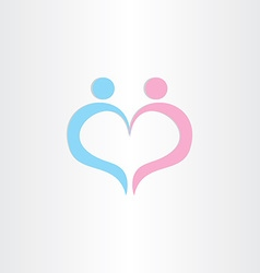 Couple boy and girl heart love symbol vector