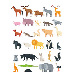 Cute cartoon animals forest savannah and farm vector