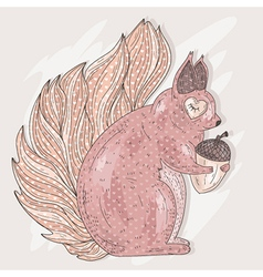 Cute pink squirrel holding acorn vector