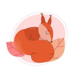 Cute squirrel animal sleeping on fallen leaves vector