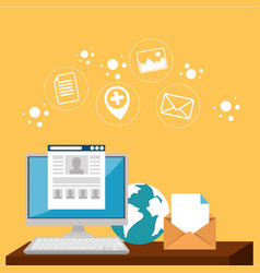 e-mail marketing set icons vector image