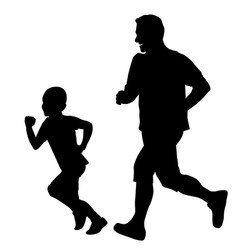 Father and son running together vector