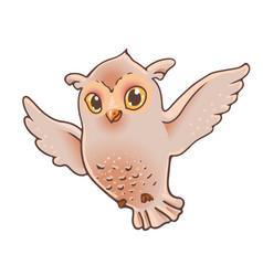 Flying owl in cartoon kids style bird isolated vector