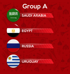 Football cup group stage world tournament table vector
