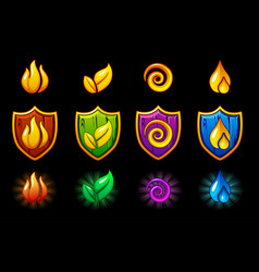 four elements nature icons wooden shield set vector image