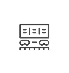 Freight wagon line icon vector