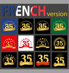 french set of number 35 templates vector image