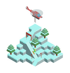 gaming isometric mountain winter landscape of vector image