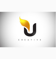 gold u letter wings logo design with golden bird vector image