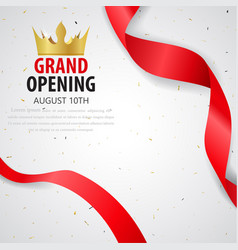 grand opening card design with gold ribbon vector image