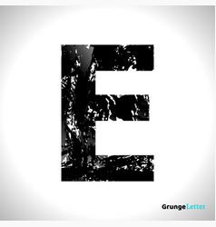 grunge letter e black font sketch style symbol vector image