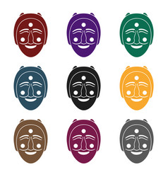 hahoe mask icon in black style isolated on whit vector image