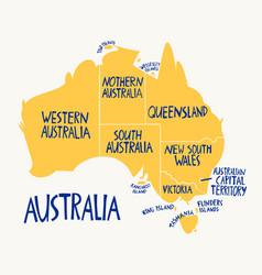 hand drawn stylized map australia travel of vector image