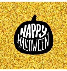 Happy Halloween Party banner with gold typography vector