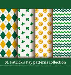 happy st patricks day set seamless patterns vector image
