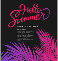 hello summer - leaflet template with brush vector image