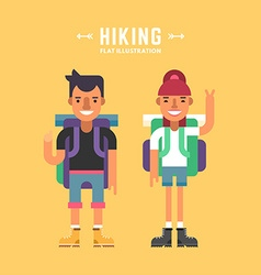 Hiking Concept Two Tourists with Backpacks vector