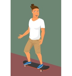 Hipster guy wearing small ponytail on skateboard vector image