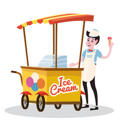 Ice cream seller cart vector