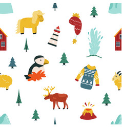 iceland cartoon seamless pattern vector image