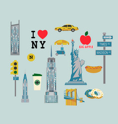 Icons by topic new york vector