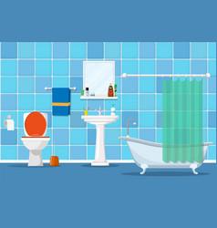 Interior of a bathroom with a toilet vector