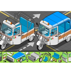 Isometric Italian Rickshaw in Front View vector