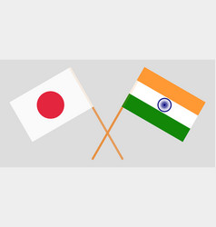 Japan and india japanese and indian flags vector