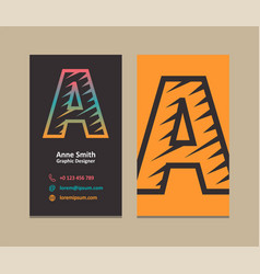 letter a logo business card vector image