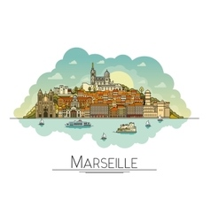line art Marseille France travel icon vector image