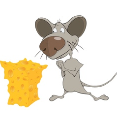 Little mouse and cheese cartoon vector image