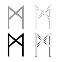 Mannaz rune man human symbol icon set grey black vector