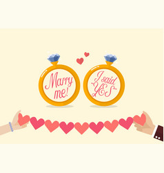 marry me and i said yes with hands holding line vector image