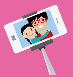 Mom and daughter become a selfie vector