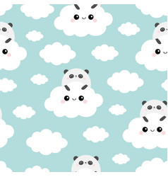 panda bear face holding cloud in sky seamless vector image
