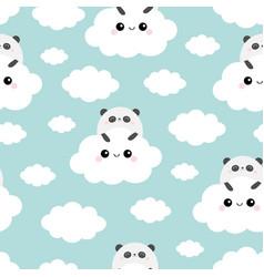 panda bear face holding cloud in sky seamless vector image