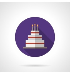 Party cake purple round flat icon vector image