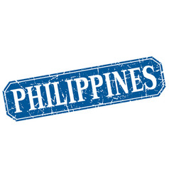 Philippines blue square grunge retro style sign vector