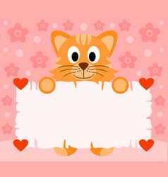 pink valentines day background card with cat vector image