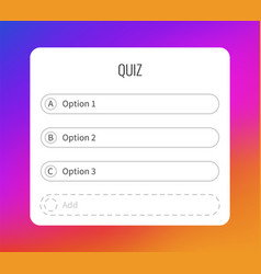 Question sticker for typing answers quiz option vector