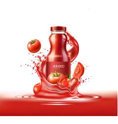 realistic tomato juice glass bottle splash vector image