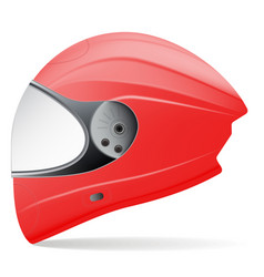 Red motorcycle helmet side view isolated on a vector