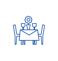 restaurant table with chairs line icon concept vector image