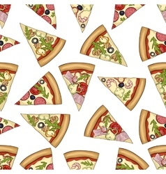 Seamless color pattern of 4 types pizza vector
